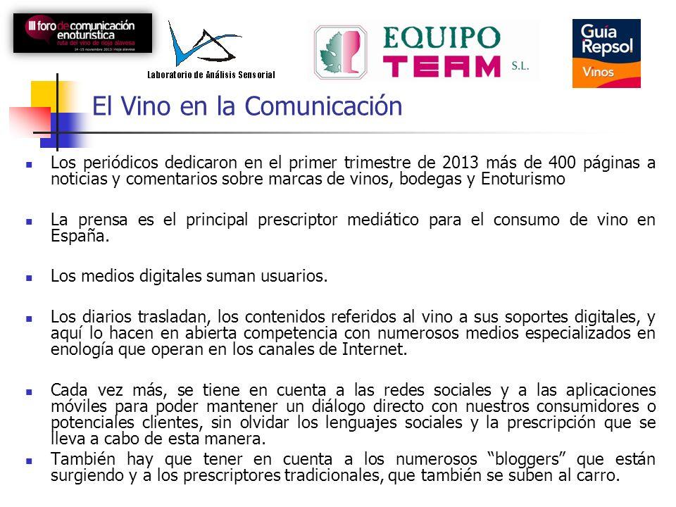 El Vino en la Comunicación Los periódicos dedicaron en el primer trimestre de 2013 más de 400 páginas a noticias y comentarios sobre marcas de vinos, bodegas y Enoturismo La prensa es el principal prescriptor mediático para el consumo de vino en España.