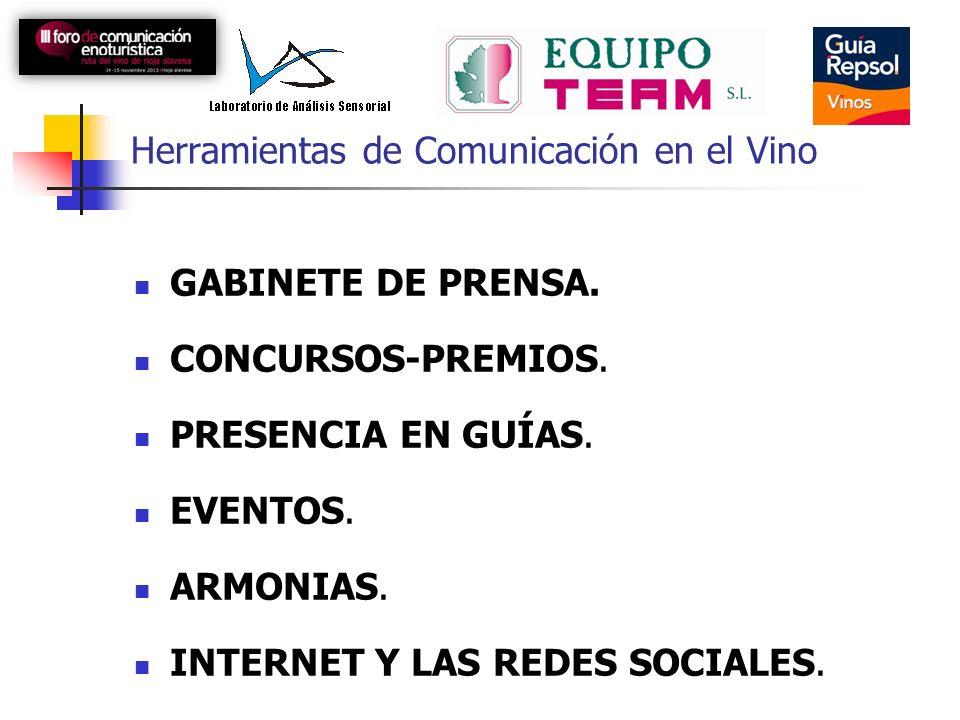 Herramientas de Comunicación en el Vino GABINETE DE PRENSA. CONCURSOS-PREMIOS. PRESENCIA EN GUÍAS. EVENTOS. ARMONIAS. INTERNET Y LAS REDES SOCIALES.