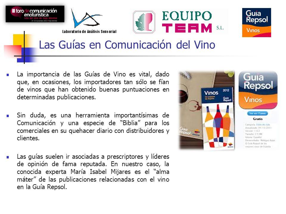 Las Guías en Comunicación del Vino La importancia de las Guías de Vino es vital, dado que, en ocasiones, los importadores tan sólo se fían de vinos que han obtenido buenas puntuaciones en determinadas publicaciones.