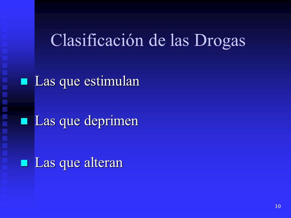 10 Clasificación de las Drogas Las que estimulan Las que estimulan Las que deprimen Las que deprimen Las que alteran Las que alteran