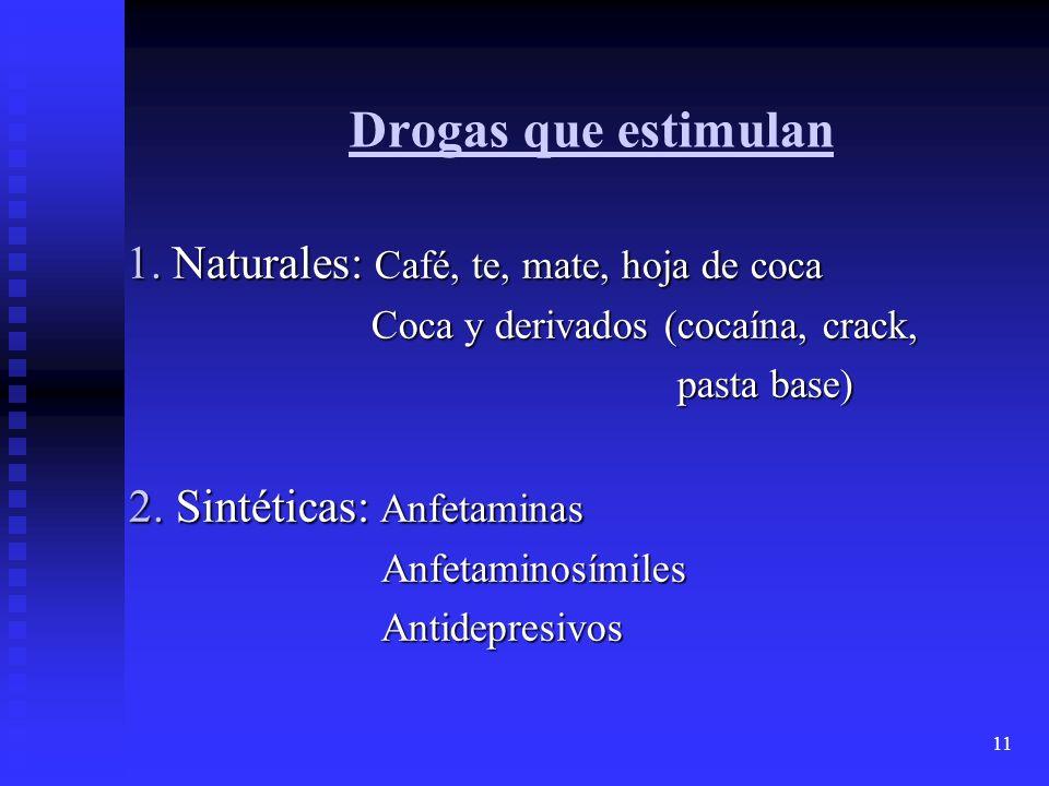11 Drogas que estimulan 1. Naturales: Café, te, mate, hoja de coca 1. Naturales: Café, te, mate, hoja de coca Coca y derivados (cocaína, crack, Coca y