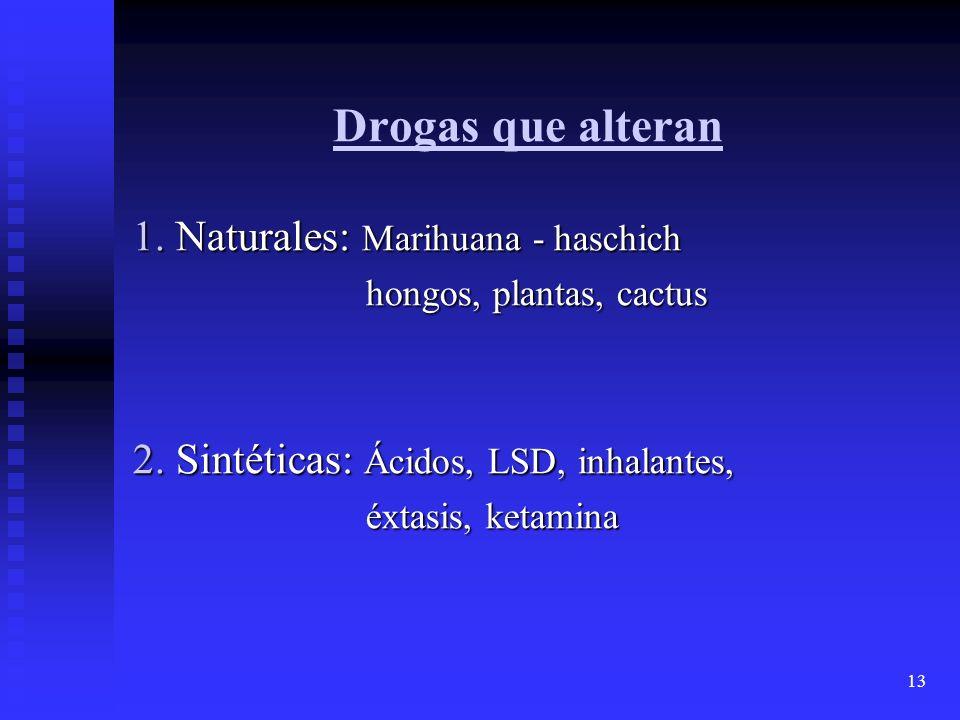 13 Drogas que alteran 1. Naturales: Marihuana - haschich hongos, plantas, cactus hongos, plantas, cactus 2. Sintéticas: Ácidos, LSD, inhalantes, éxtas