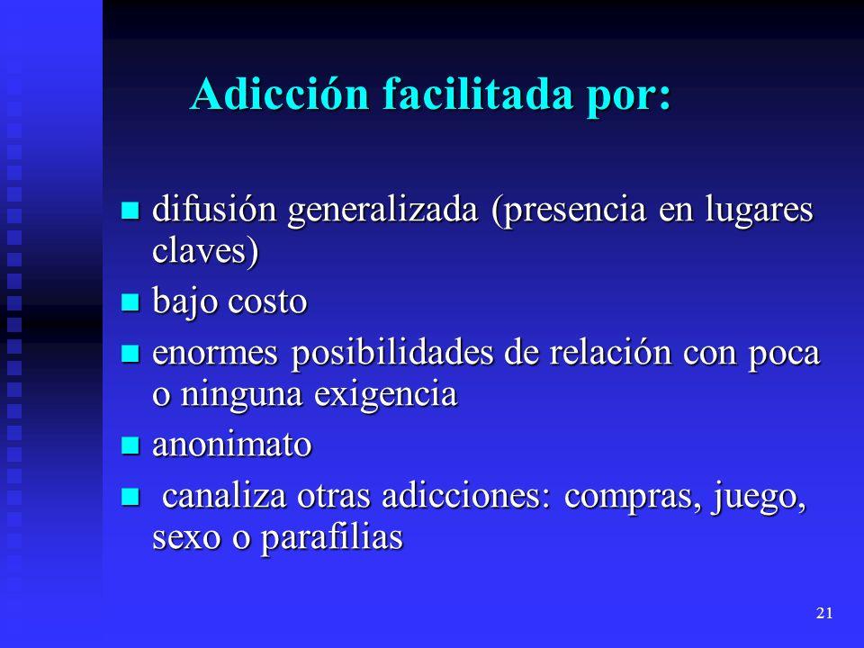 21 Adicción facilitada por: Adicción facilitada por: difusión generalizada (presencia en lugares claves) difusión generalizada (presencia en lugares c