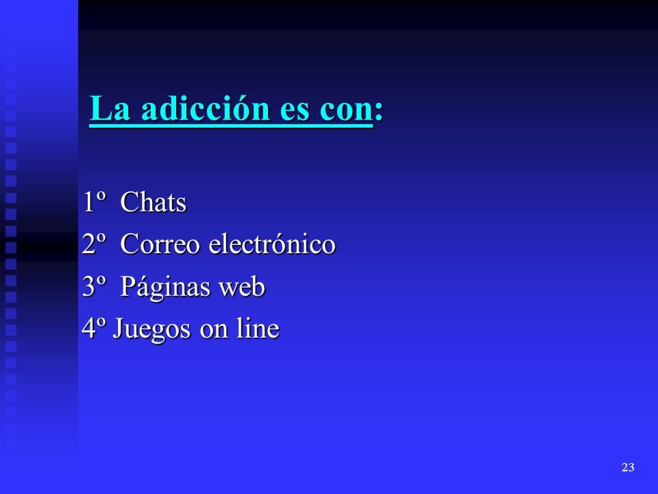 23 La adicción es con: 1º Chats 1º Chats 2º Correo electrónico 2º Correo electrónico 3º Páginas web 3º Páginas web 4º Juegos on line 4º Juegos on line
