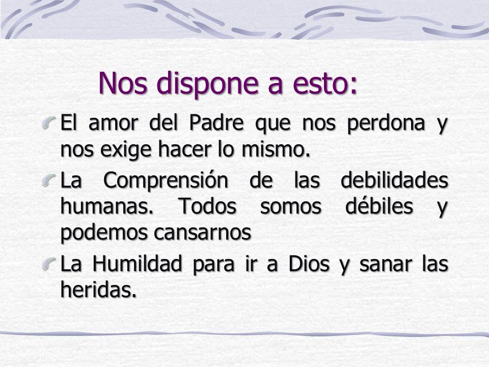 Nos dispone a esto: El amor del Padre que nos perdona y nos exige hacer lo mismo.