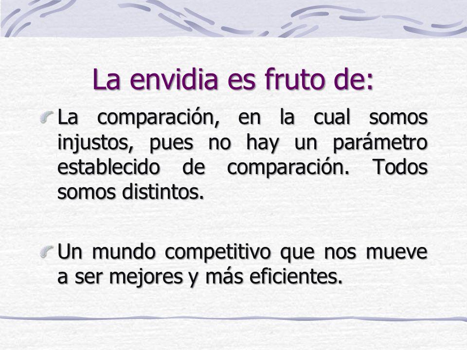 La envidia es fruto de: La comparación, en la cual somos injustos, pues no hay un parámetro establecido de comparación.