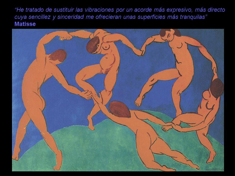 He tratado de sustituir las vibraciones por un acorde más expresivo, más directo cuya sencillez y sinceridad me ofrecieran unas superficies más tranquilas Matisse