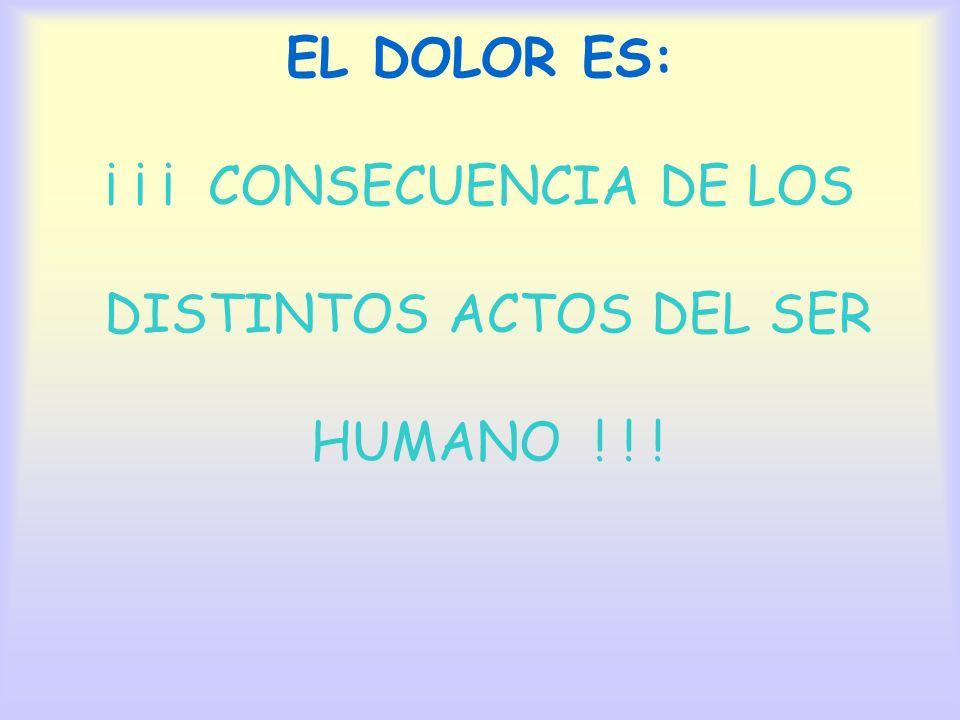 EL DOLOR ES LA EL DOLOR ES: ¡ ¡ ¡ CONSECUENCIA DE LOS DISTINTOS ACTOS DEL SER HUMANO ! ! !