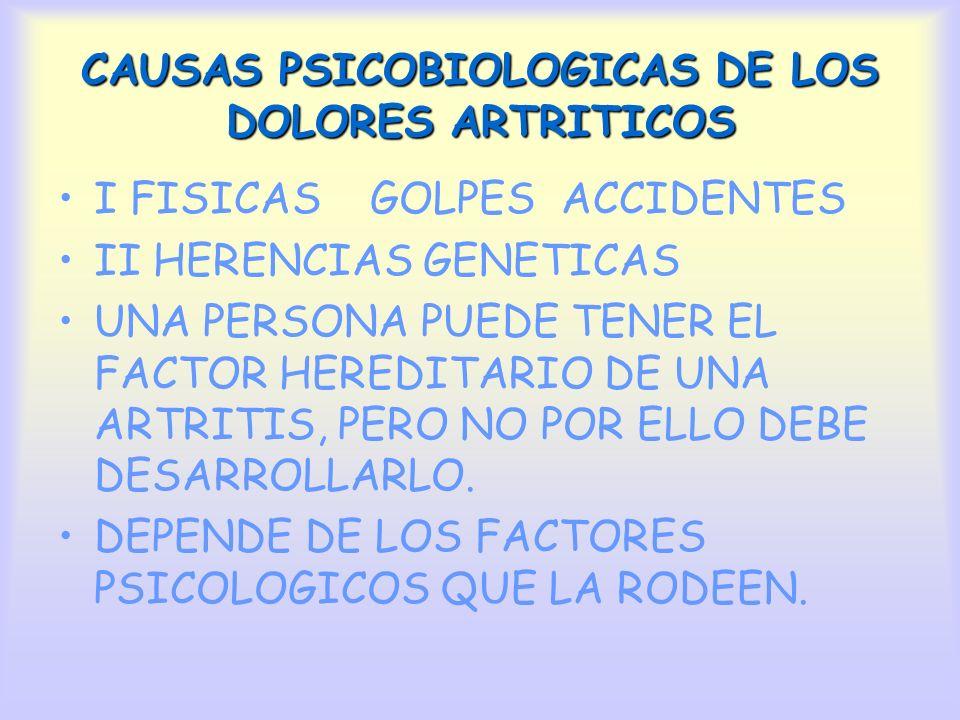 CAUSAS PSICOBIOLOGICAS DE LOS DOLORES ARTRITICOS I FISICAS GOLPES ACCIDENTES II HERENCIAS GENETICAS UNA PERSONA PUEDE TENER EL FACTOR HEREDITARIO DE U