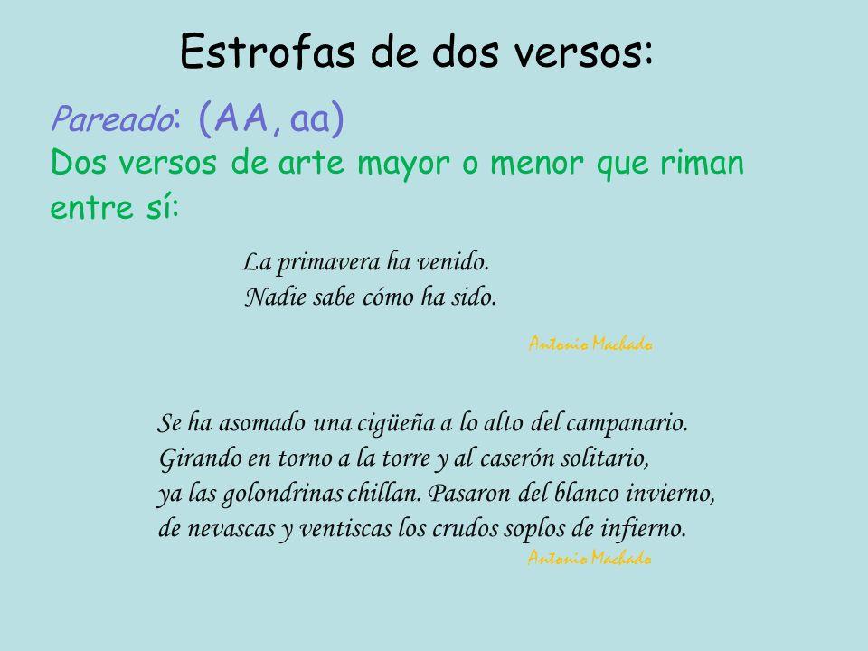 Pareado : (AA, aa) Dos versos de arte mayor o menor que riman entre sí: Estrofas de dos versos: La primavera ha venido.