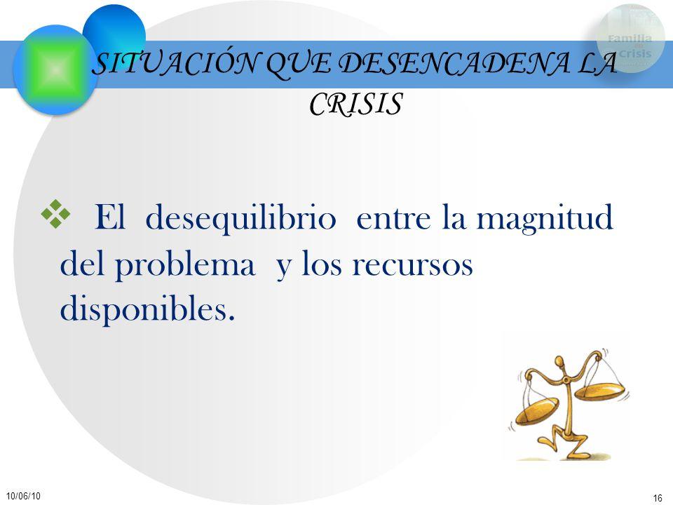 16 10/06/10 SITUACIÓN QUE DESENCADENA LA CRISIS El desequilibrio entre la magnitud del problema y los recursos disponibles.
