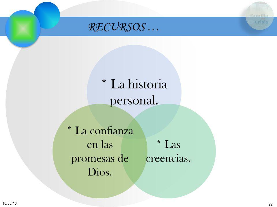 22 10/06/10 RECURSOS … * La historia personal. * Las creencias. * La confianza en las promesas de Dios.