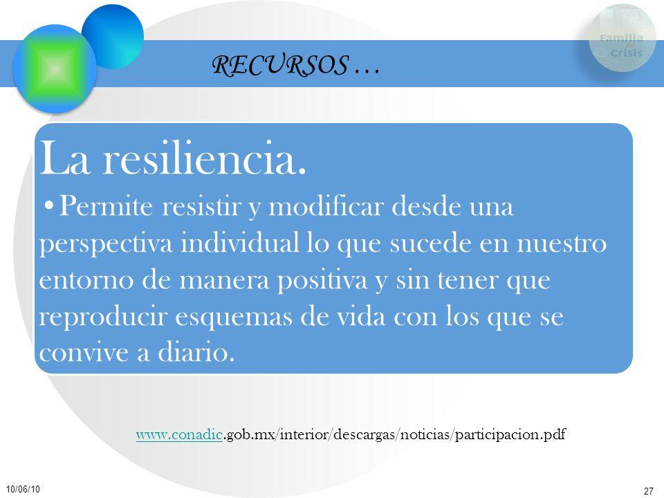 27 10/06/10 RECURSOS … La resiliencia. Permite resistir y modificar desde una perspectiva individual lo que sucede en nuestro entorno de manera positi