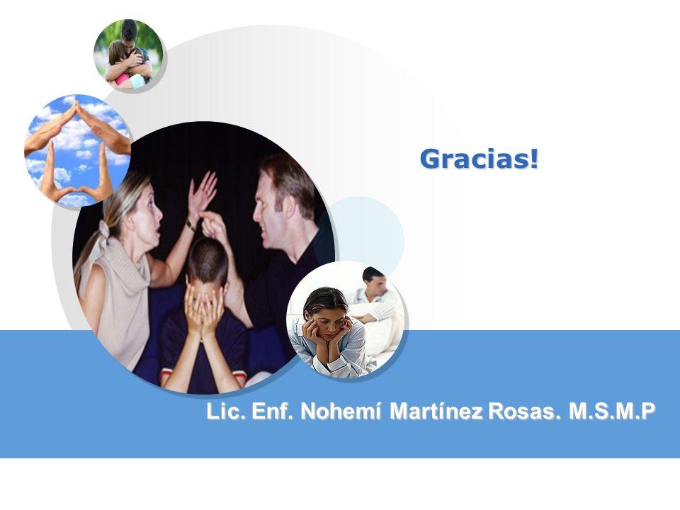 Gracias! Lic. Enf. Nohemí Martínez Rosas. M.S.M.P