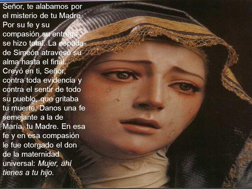 Señor, te alabamos por el misterio de tu Madre. Por su fe y su compasión su entrega se hizo total. La espada de Simeón atravesó su alma hasta el final
