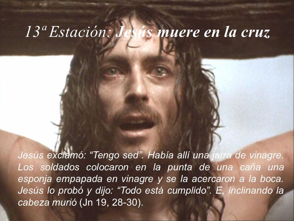 13ª Estación: Jesús muere en la cruz Jesús exclamó: Tengo sed. Había allí una jarra de vinagre. Los soldados colocaron en la punta de una caña una esp