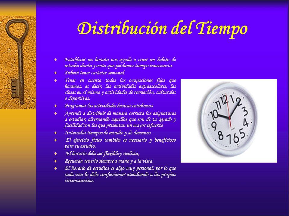 Distribución del Tiempo Establecer un horario nos ayuda a crear un hábito de estudio diario y evita que perdamos tiempo innecesario. Deberá tener cará