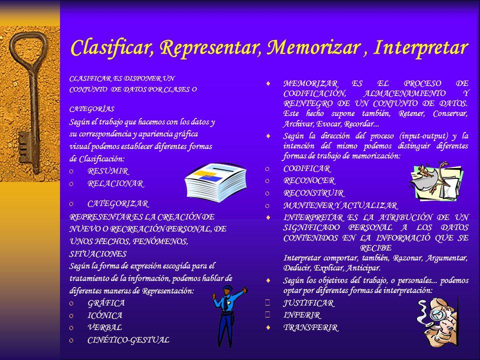 Clasificar, Representar, Memorizar, Interpretar CLASIFICAR ES DISPONER UN CONJUNTO DE DATOS POR CLASES O CATEGORÍAS Según el trabajo que hacemos con l