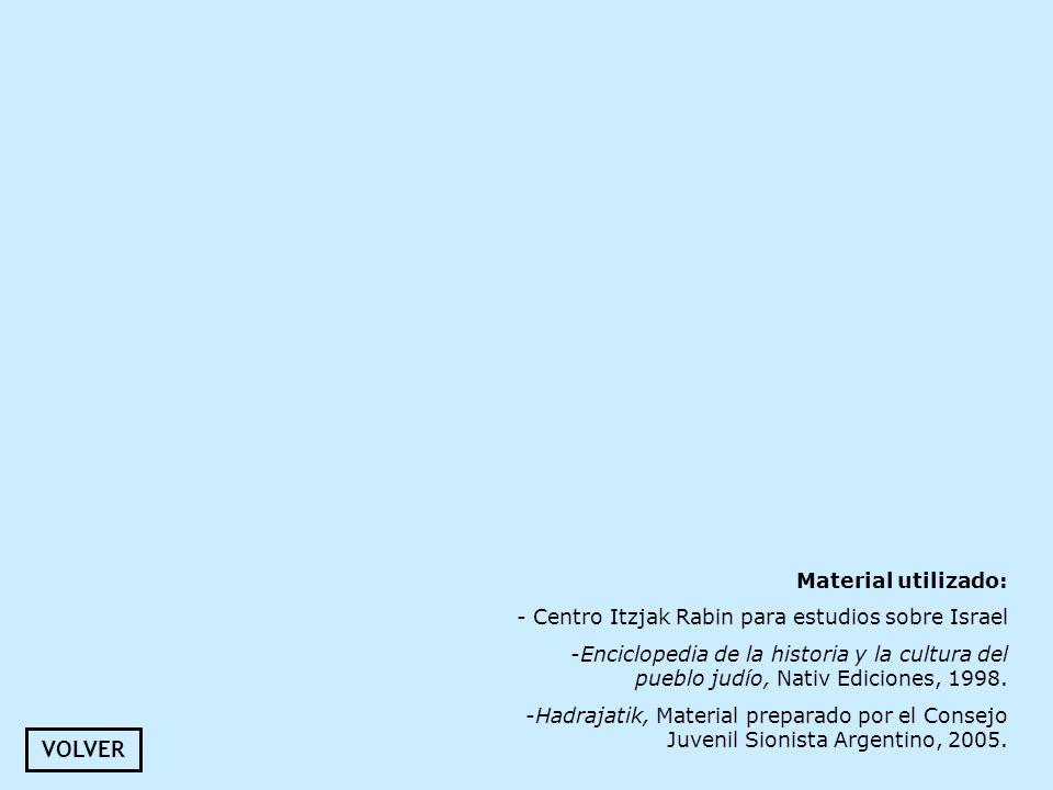 Material utilizado: - Centro Itzjak Rabin para estudios sobre Israel -Enciclopedia de la historia y la cultura del pueblo judío, Nativ Ediciones, 1998
