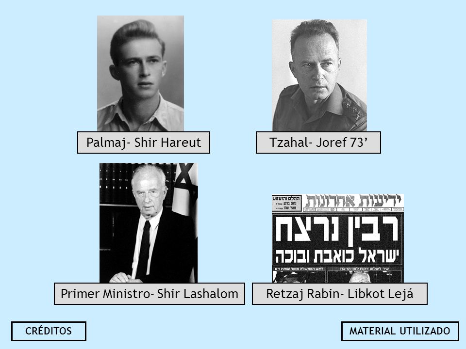 Palmaj- Shir Hareut Primer Ministro- Shir Lashalom Tzahal- Joref 73 Retzaj Rabin- Libkot Lejá CRÉDITOSMATERIAL UTILIZADO