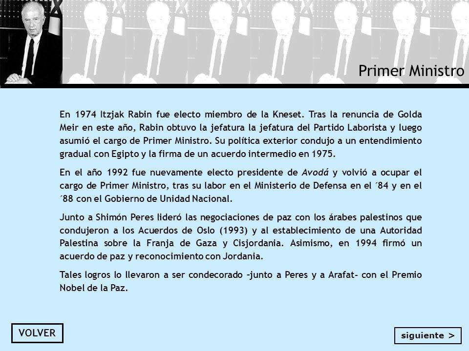 Primer Ministro En 1974 Itzjak Rabin fue electo miembro de la Kneset. Tras la renuncia de Golda Meir en este año, Rabin obtuvo la jefatura la jefatura