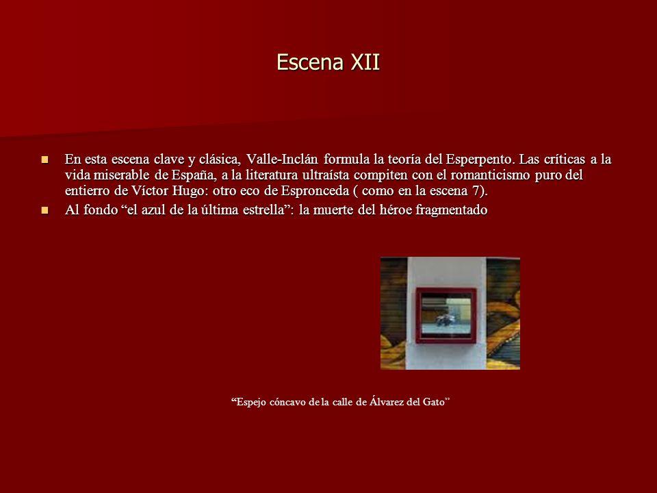 Escena XII En esta escena clave y clásica, Valle-Inclán formula la teoría del Esperpento. Las críticas a la vida miserable de España, a la literatura