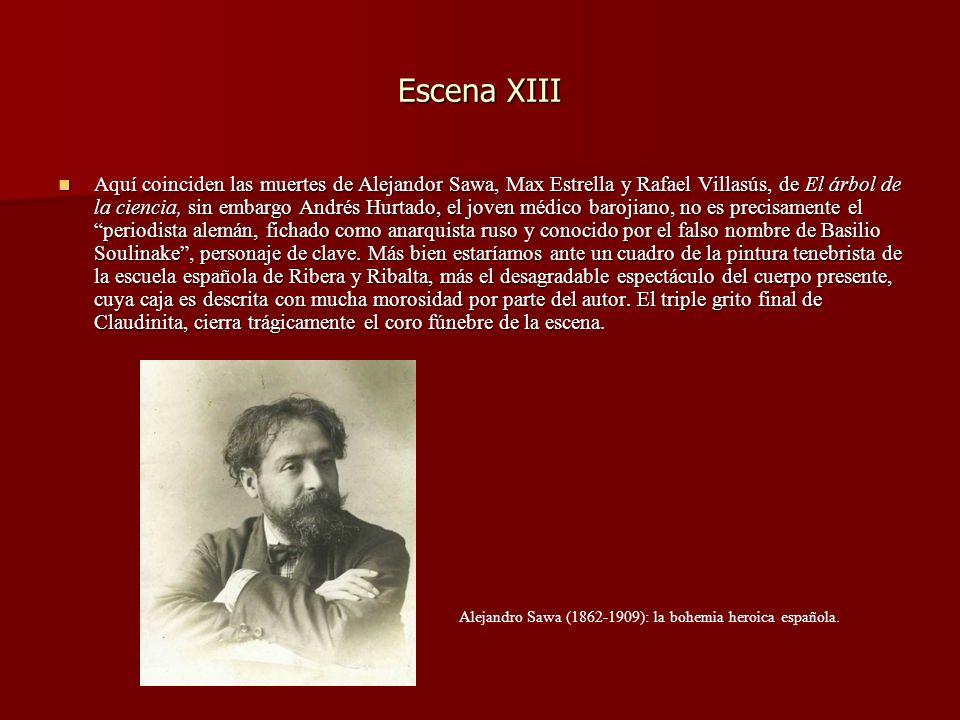 Escena XIII Aquí coinciden las muertes de Alejandor Sawa, Max Estrella y Rafael Villasús, de El árbol de la ciencia, sin embargo Andrés Hurtado, el jo