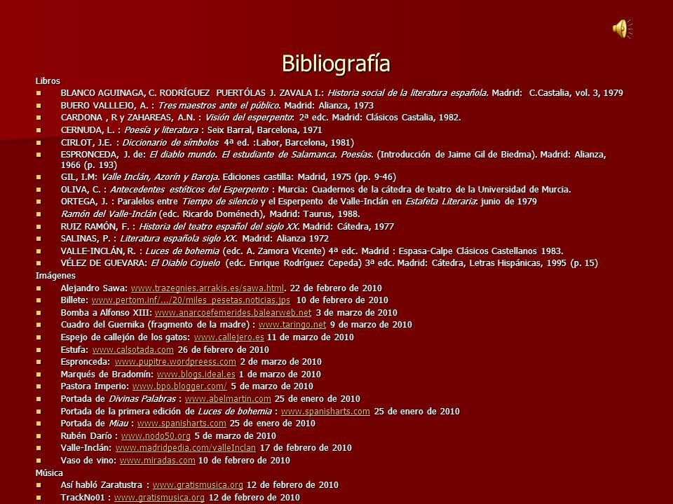 Bibliografía Libros BLANCO AGUINAGA, C. RODRÍGUEZ PUERTÓLAS J. ZAVALA I.: Historia social de la literatura española. Madrid: C.Castalia, vol. 3, 1979