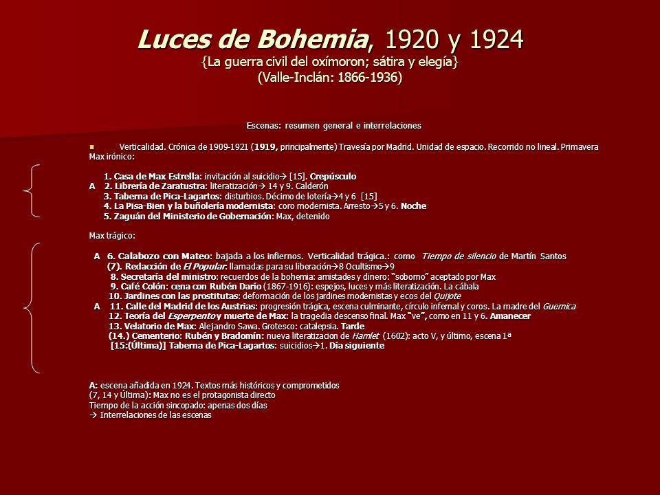 Luces de Bohemia, 1920 y 1924 {La guerra civil del oxímoron; sátira y elegía} (Valle-Inclán: 1866-1936) Escenas: resumen general e interrelaciones Esc