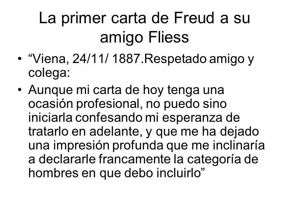 La primer carta de Freud a su amigo Fliess Viena, 24/11/ 1887.Respetado amigo y colega: Aunque mi carta de hoy tenga una ocasión profesional, no puedo