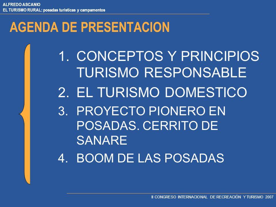ALFREDO ASCANIO EL TURISMO RURAL: posadas turísticas y campamentos II CONGRESO INTERNACIONAL DE RECREACIÓN Y TURISMO 2007 AGENDA DE PRESENTACION 1.CONCEPTOS Y PRINCIPIOS TURISMO RESPONSABLE 2.EL TURISMO DOMESTICO 3.PROYECTO PIONERO EN POSADAS.