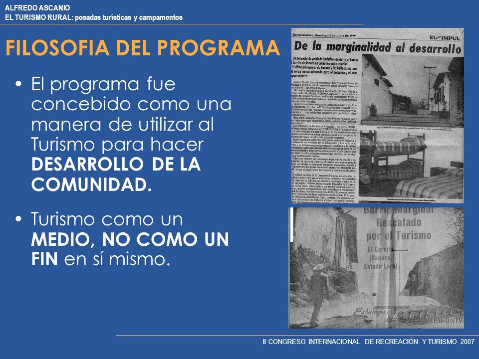 ALFREDO ASCANIO EL TURISMO RURAL: posadas turísticas y campamentos II CONGRESO INTERNACIONAL DE RECREACIÓN Y TURISMO 2007 CRITERIOS DE SELECCION VIABI