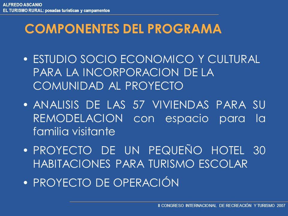ALFREDO ASCANIO EL TURISMO RURAL: posadas turísticas y campamentos II CONGRESO INTERNACIONAL DE RECREACIÓN Y TURISMO 2007 COMPONENTES DEL PROGRAMA ESTUDIO SOCIO ECONOMICO Y CULTURAL PARA LA INCORPORACION DE LA COMUNIDAD AL PROYECTO ANALISIS DE LAS 57 VIVIENDAS PARA SU REMODELACION con espacio para la familia visitante PROYECTO DE UN PEQUEÑO HOTEL 30 HABITACIONES PARA TURISMO ESCOLAR PROYECTO DE OPERACIÓN