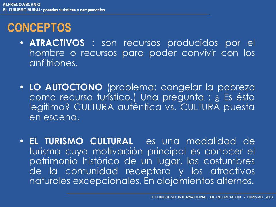 ALFREDO ASCANIO EL TURISMO RURAL: posadas turísticas y campamentos II CONGRESO INTERNACIONAL DE RECREACIÓN Y TURISMO 2007 CONCEPTOS CULTURA, proviene