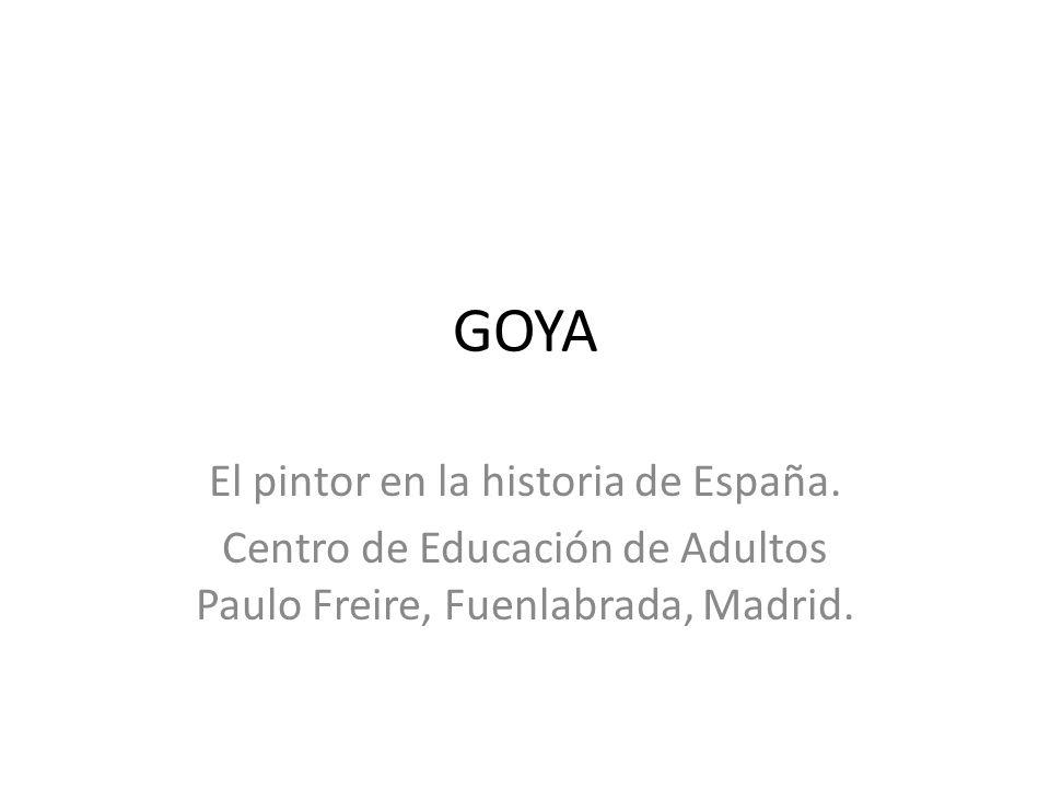Retirado a su casa de las afueras de Madrid, la Quinta del Sordo, realiza en sus paredes las Pinturas Negras, caracterizadas por su predominio del negro; enla de los viejos el de la barba simboliza al mismo Goya, y el que le grita al oído, el mundo que odia por su absolutismo y su intransigencia.