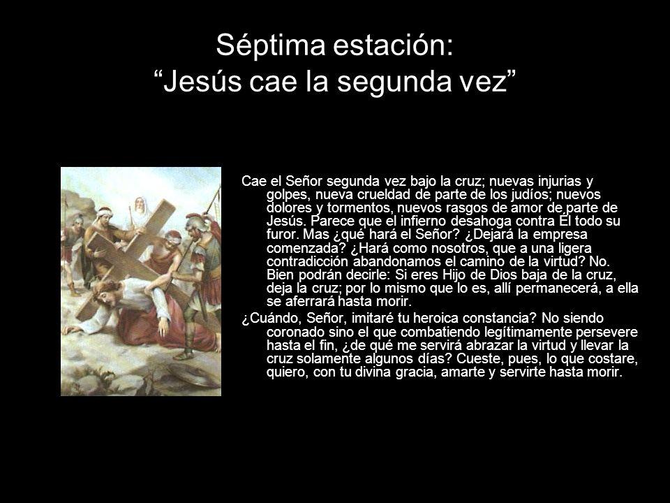 Séptima estación: Jesús cae la segunda vez Cae el Señor segunda vez bajo la cruz; nuevas injurias y golpes, nueva crueldad de parte de los judíos; nue