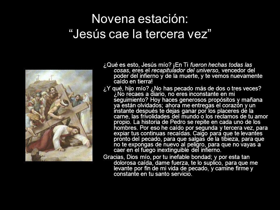 Novena estación: Jesús cae la tercera vez ¿Qué es esto, Jesús mío? ¡En Ti fueron hechas todas las cosas, eres el recapitulador del universo, vencedor