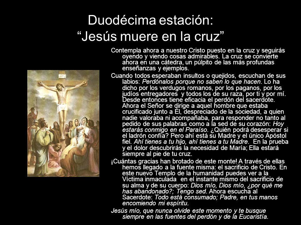 Duodécima estación: Jesús muere en la cruz Contempla ahora a nuestro Cristo puesto en la cruz y seguirás oyendo y viendo cosas admirables.