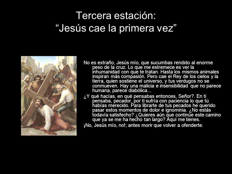 Tercera estación: Jesús cae la primera vez No es extraño, Jesús mío, que sucumbas rendido al enorme peso de la cruz. Lo que me estremece es ver la inh