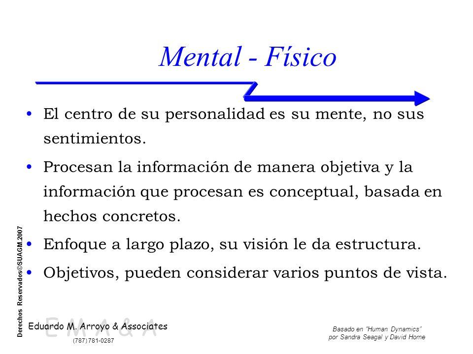 E M A & A Eduardo M. Arroyo & Associates (787) 781-0287 Basado en Human Dynamics por Sandra Seagal y David Horne Derechos Reservados©SUAGM.2007 Mental