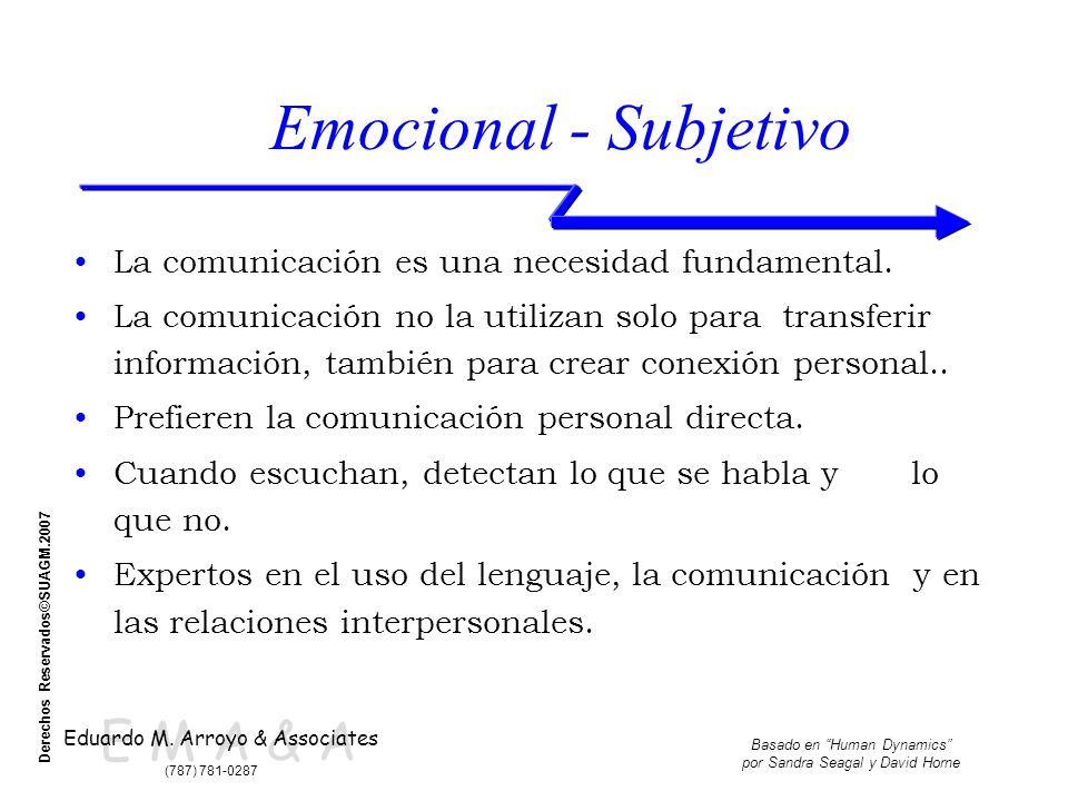 E M A & A Eduardo M. Arroyo & Associates (787) 781-0287 Basado en Human Dynamics por Sandra Seagal y David Horne Derechos Reservados©SUAGM.2007 Emocio