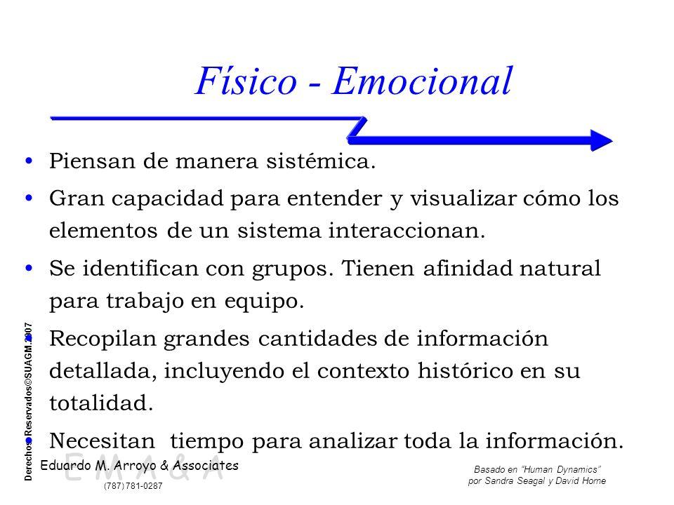 E M A & A Eduardo M. Arroyo & Associates (787) 781-0287 Basado en Human Dynamics por Sandra Seagal y David Horne Derechos Reservados©SUAGM.2007 Físico