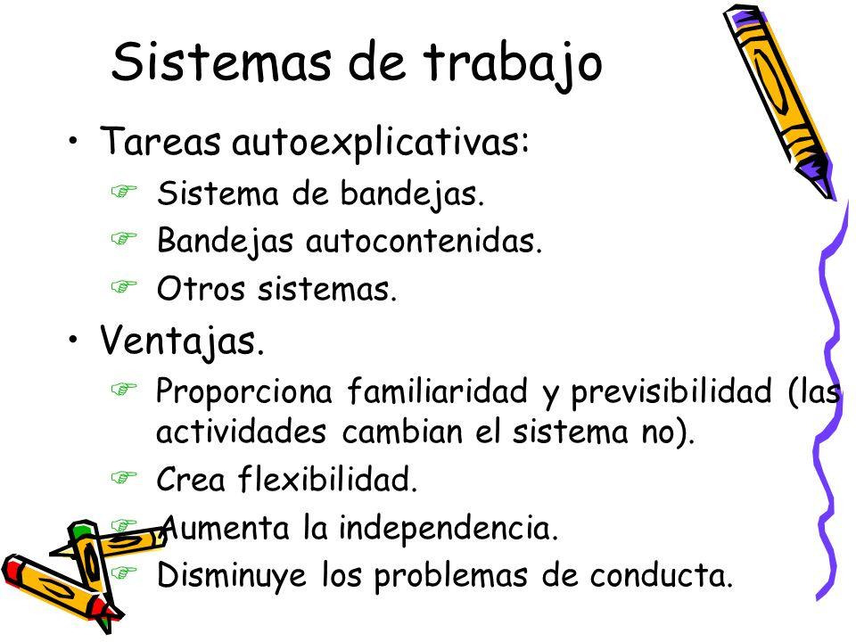 Sistemas de trabajo Tareas autoexplicativas: FSistema de bandejas.