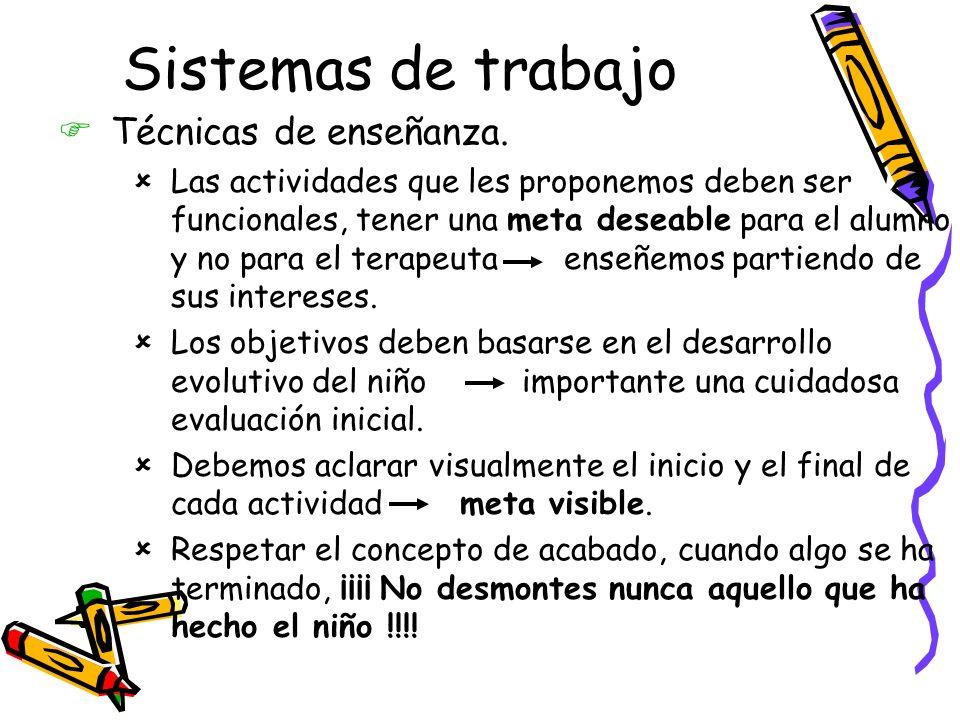 Sistemas de trabajo FTécnicas de enseñanza.