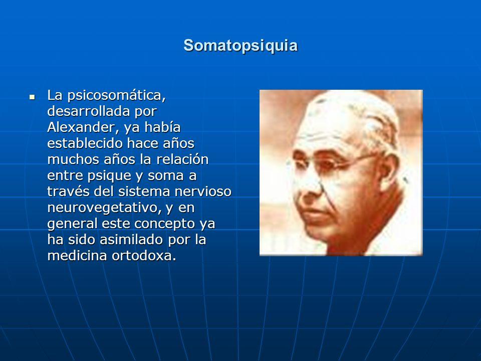 Somatopsiquia La psicosomática, desarrollada por Alexander, ya había establecido hace años muchos años la relación entre psique y soma a través del si
