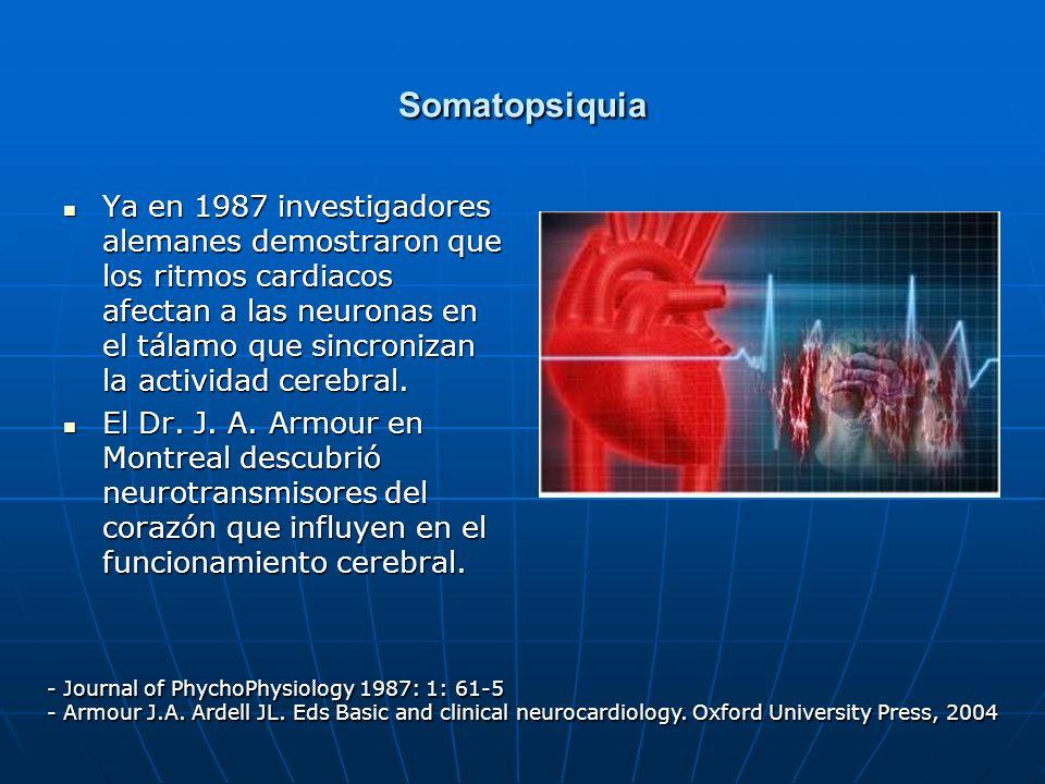 Somatopsiquia Ya en 1987 investigadores alemanes demostraron que los ritmos cardiacos afectan a las neuronas en el tálamo que sincronizan la actividad