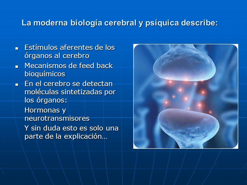 La moderna biología cerebral y psíquica describe: Estímulos aferentes de los órganos al cerebro Estímulos aferentes de los órganos al cerebro Mecanism