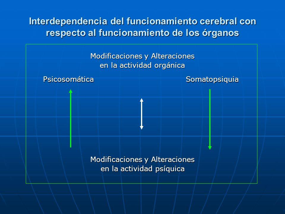 Interdependencia del funcionamiento cerebral con respecto al funcionamiento de los órganos Modificaciones y Alteraciones en la actividad orgánica Psic
