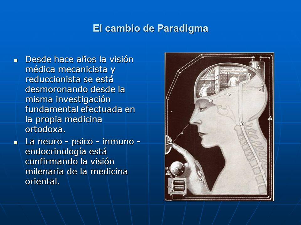 El cambio de Paradigma Desde hace años la visión médica mecanicista y reduccionista se está desmoronando desde la misma investigación fundamental efec
