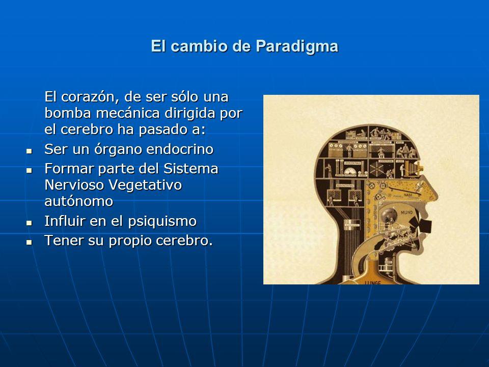 El cambio de Paradigma El corazón, de ser sólo una bomba mecánica dirigida por el cerebro ha pasado a: Ser un órgano endocrino Ser un órgano endocrino